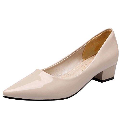 Pied De Charme Femmes Élégante Bout Pointu Chunky Mi-talon Pompe Chaussures Beige