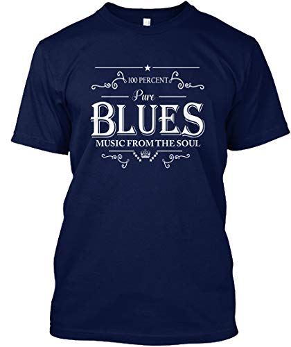 (100percent Pure Blues Music from The Soul XL - Navy Tshirt - Hanes Tagless Tee)