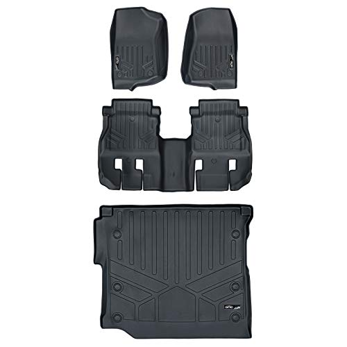MAX LINER A0316/B0316/D0316 Custom Floor Mats 2 Rows and Cargo Liner Set Black for 2018-2019 Jeep Wrangler JL Unlimited with Subwoofer (no JK)