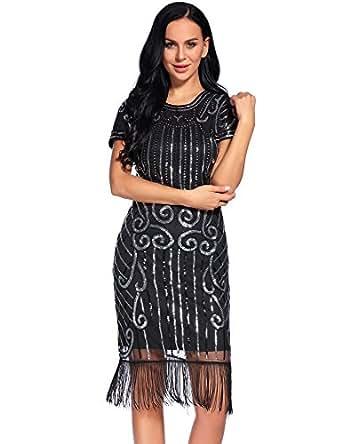 Flapper Girl 1920s Vintage Inspired Sequin Embellished Fringe Gatsby Flapper Dress (S, Black&Silver-1)