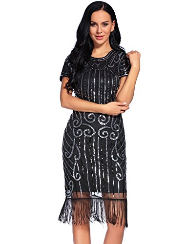 Flapper Girl 1920s Vintage Inspired Sequin Embellished Fringe Gatsby Flapper Dress (XL, Black&Silver-1)