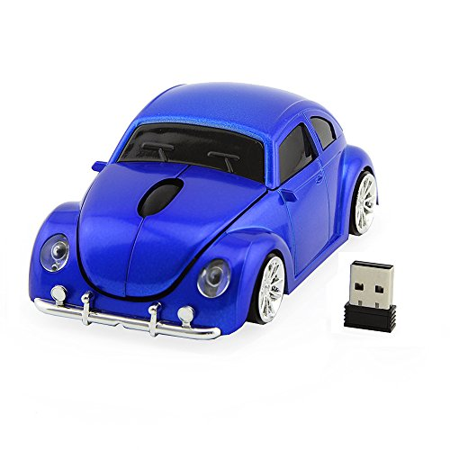 Usbkingdom 2.4GHz Wireless Mouse Cool 3D Sport Car Shaped Ergonomic Optical Cordless Mice with USB Receiver for PC Laptop Computer Notebook 1600DPI Blue