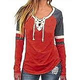 Womens Long Sleeve Pullover Sweatshirts ❤️ Vanvler Ladies Loose Blouses V-Neck Shirts Casual Patchwork Hoodie (Orange, L)