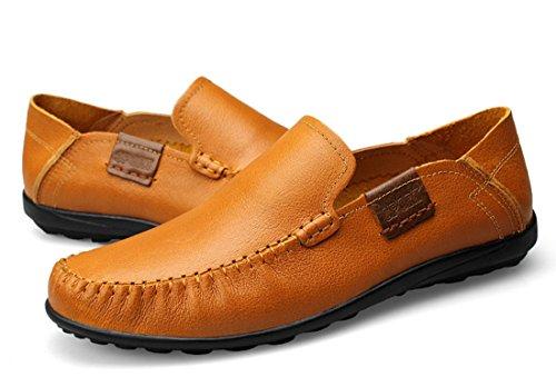 Tda Mens Nouveau Doux Confort Manuel Cuir Conduite Mocassins Bateau Chaussures Jaune Marron