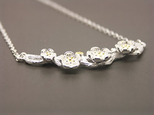 Branch Flower Plum (SHIPPING IN 24 HOURS! Silver Plum Flower Necklace NA006)