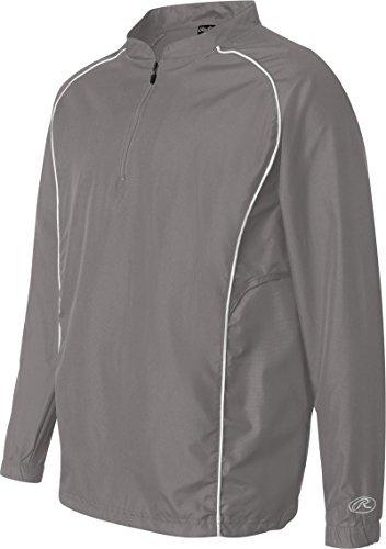 Rawlings Long Sleeve Quarter-Zip Pullover Windshirt - 9715 - Steel - - Long Pullover Windshirt Sleeve