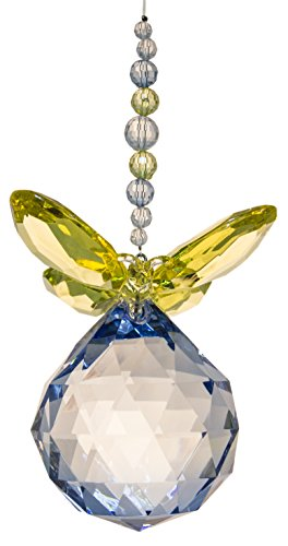 Crystal Expressions Acrylic 5.5 Inch Facet Ball Butterfly Ornament/ Sun-Catcher (Yellow/ Blue) ()