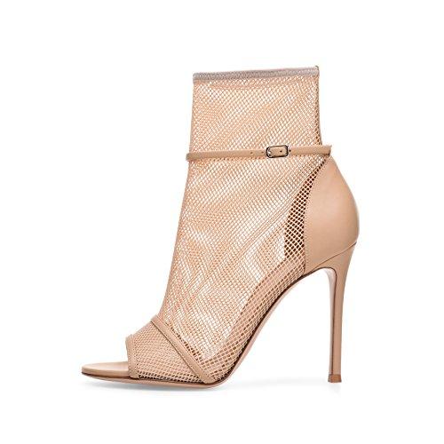 Donyyyy Zapatos de mujer, sandalias de tacón alto y hebillas de cinturón de cuero Forty-two