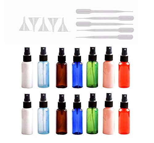 - Spray Bottles, HNYYZL 14 Pcs 30 ml Leak Proof Anti-UV Plastic Small Travel Bottles for Science Lab Makeup Cosmetic Essential& 5 Pcs Transfer Pipette& 5 Pcs Mini Plastic Funnels,Total 24 Pcs