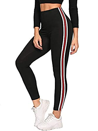 Buy Shocknshop Black Red Striped Side Ankle Length Skinny Bottoms Women Mid Waist Casual Leggings Leg39 At Amazon In
