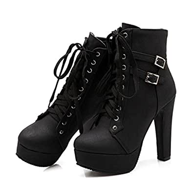 Susanny Women Autumn Round Toe Lace Up Ankle Buckle Chunky High Heel Platform Knight Martin Boots Black Size: 5.5