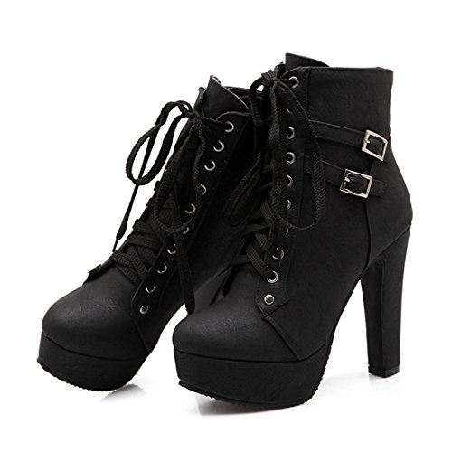 Susanny Women Autumn Round Toe Lace Up Ankle Buckle Chunky High Heel Platform Knight Black Martin Boots 9 B (M) US (CN Size_41)
