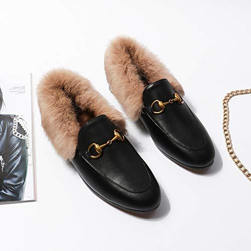ZHAOXIANGXIANG Leder Bestickt Dou Schuhe Damen Winter EIN Fu/ß Schuh Flache Sohle Schuhe