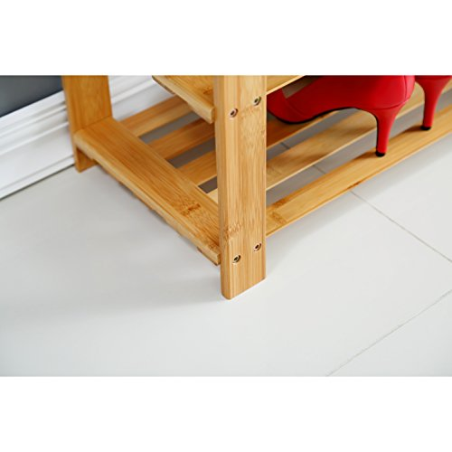 "Natural Bamboo Shoe Bench (27.6"" X 11.2"" X 17.9""), Mosa Hallway Wood Entryway Bench Wooden Shoe Rack for Bedroom"