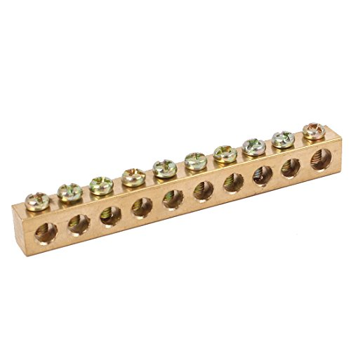 uxcell 10 Holes Distribution Cabinet Wire Screw Terminal Ground Copper Neutral Bar