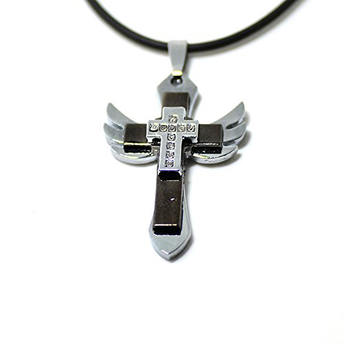 Stainless Steel Angel Wing Cross Necklace for Men