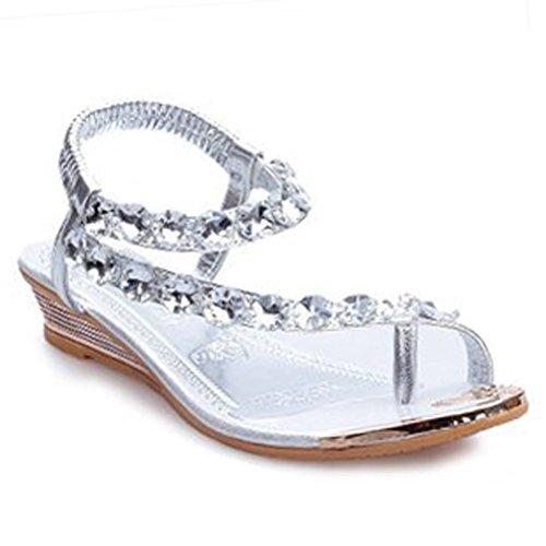 Donalworld Frauen Sommer Strand Schuhe T Gurt Strass Sandalen Flip Flops Keile Gladiator Plattform Sandalen Silber