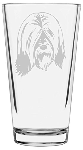 Tibetan Terrier Dog Themed Etched All Purpose 16oz Libbey Pint Glass