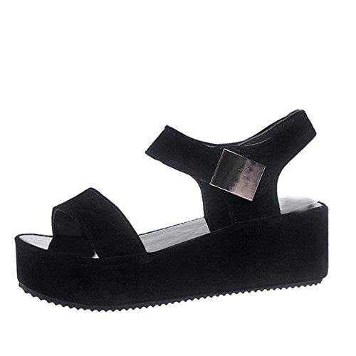 Inkach Womens Platform Sandals   Ladies Peep Toe Summer Sandals Ankle Wrap Shoes Flip Flops  38 Us 6 5   Black