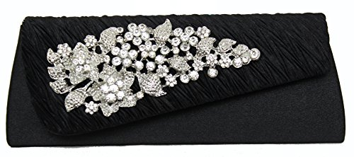 Hotstylezone Party Handbag With Diamond Brooch With Black Floral Design