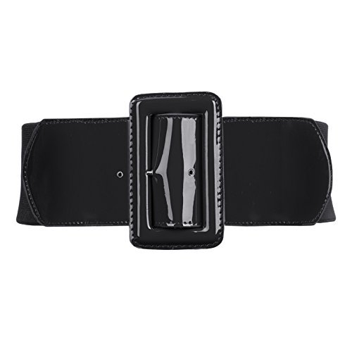 Women's Wide Patent Leather Fashion Belt ,Black,X-Large ()