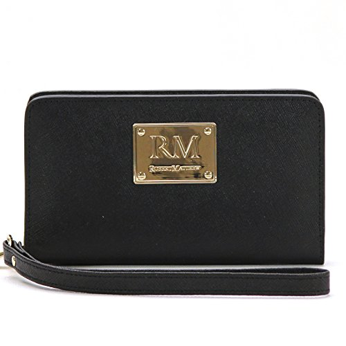 Robert Matthew Aria 24K Gold Leather Wallet Wristlet, Phone Wallet, Wallets for Women, Teens, Girls - Best Wallet for iPhone 8, 7, 6, Samsung Galaxy S8, S7, Android, Slim Wallet (Black Diamond)