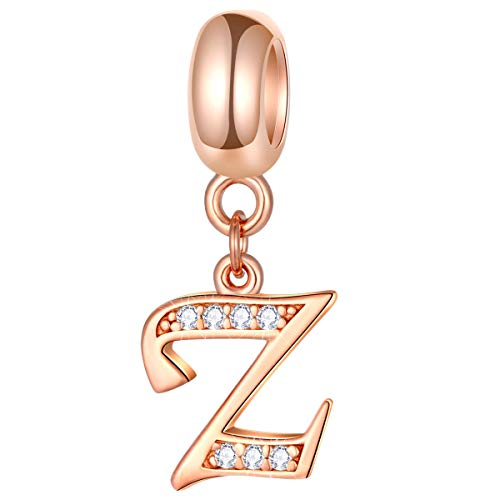EMOSTAR Letter Z Charms Initial A-Z Alphabet Word Beads - Rose Gold Authentic 925 Sterling Silver Dangle CZ Birthstone, fits Pandora Style European Snake Chain, for Mothers Day Birthday (Pandora Nautical Charms)