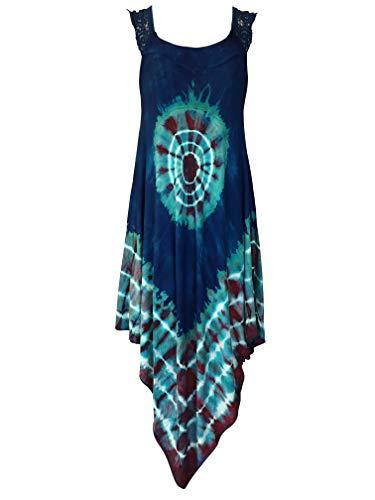 India Boutique Crochet Dress Embroidery Summer Beach Handkerchief Umbrella Dress (Royal Blue with Aqua Tie-Dye)