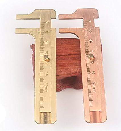 Handy Sliding Gauge EDC Brass Pocket Ruler Vernier Caliper Measuring Tool Rolling Scale Ruler 80mm
