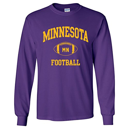 (Minnesota Classic Football Arch American Football Team Long Sleeve T Shirt - 2X-Large - Purple)