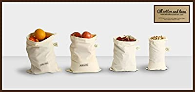 Set of 7 Organic Cotton Produce Bags - Fruits bag, vegetable bag, Toy Bags, Lunch Bags for Men, Women & Children, Sports Equipment, Fabric Laundry, Travel, Organizing, Home Storage, and Grocery Shopping & Storage of Fruit Vegetable & Garden Produce - Eco