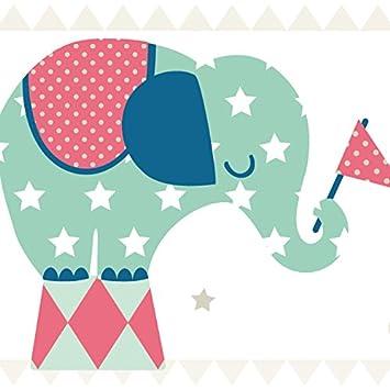 Anna Wand Bordure Selbstklebend Elefanten Boys Wandbordure