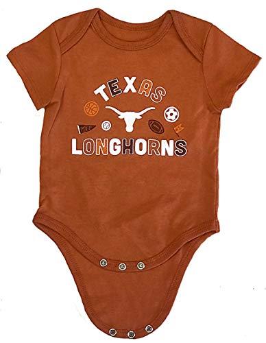 - 289c apparel NCAA Newborn & Infant Blitzen Baby Romper Bodsuit (3M, Texas Longhorns)