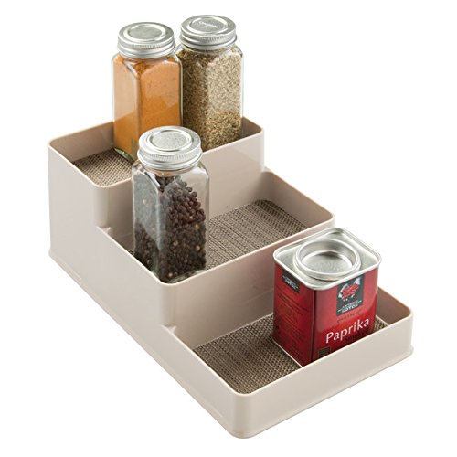 mDesign Spice Rack Organizer for Kitchen Pantry, Cabinet, Counter Tops - Small, Pearl Champagne