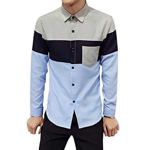 図クリップ緊急ベラバント(Veravant)シャツ メンズ 長袖 切り替え ポケット付き カジュアル 折り襟 スリム アウター ボタンダウン 大きい S‐XL