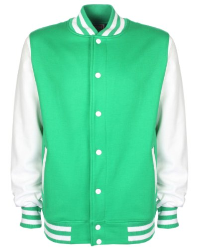 Green White Maniche Contrasto College Con A Giacca Unisex Kelly HnS1x4q