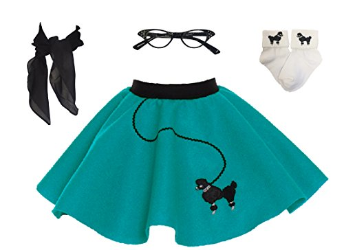 Hip Hop 50s Shop Toddler 4 Piece Poodle Skirt Costume Set Teal
