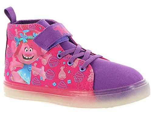 (Trolls Poppy Lighted Canvas Hi Top Sneaker/Shoes Toddler/Little Kid Pink/Purple (11 M Little)