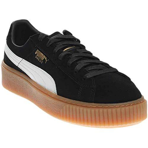 PUMA Women's Suede Platform Core Fashion Sneaker, Puma Black-Puma White, 8 M US 36355902