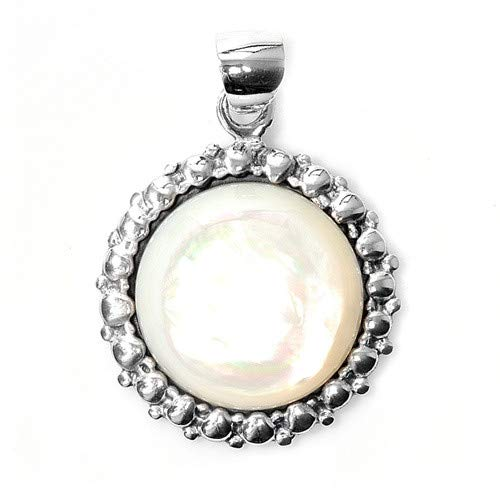 Simulated Pearl Glitzs Jewels 925 Sterling Silver Pendant with Stone in Gift Box