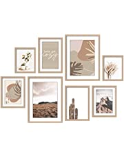 ArtbyHannah 8 Pack Modern Neutral Gallery Wall Kit Decorative Art Prints Picture Frame Collage Sets Wall Art Decor for Home Decoration, Multi Size 12x16, 8x12, 8x10, 6x8 Inch