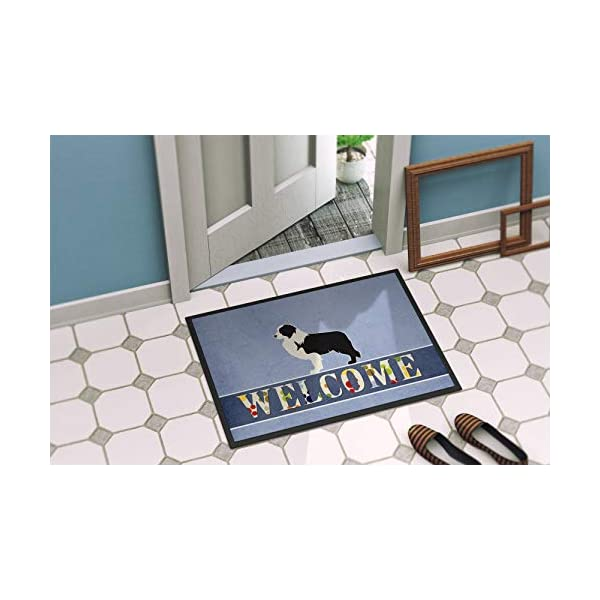 Caroline's Treasures BB5527MAT Black Border Collie Welcome Indoor or Outdoor Mat 18x27, 18H X 27W, Multicolor 2