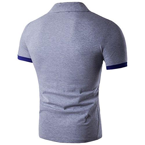 Polo Acmede Courte Shirt Gris Causal Vêtements Homme Uni Couleur Manche 5x4A4q6w