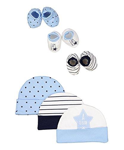 Hat Bootie Set - BornCare Caps hat and Bootie Set Infant Bootie 3 Pack Baby caps 3 Pack Baby Booties Blue