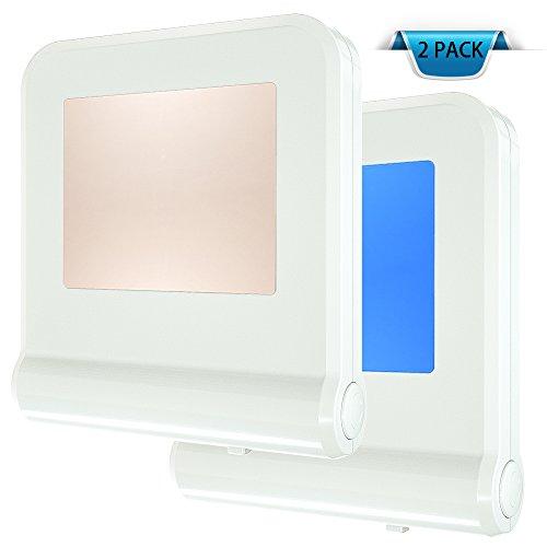 Plug-in LED Night Light with Dusk to Dawn Sensor for Kitchen 8 Color Change Nightlight, Hallway, Kids Childrens Adults Bedroom, 2 Pack (8-Color)