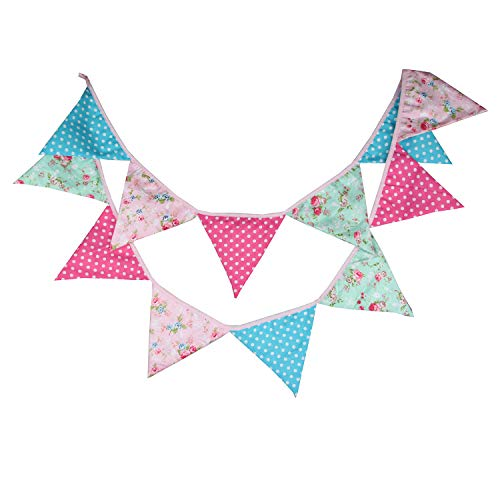 INFEI 3.2M/10.5Ft Pink Blue Vintage Flower Fabric Flags Bunting Banner Garlands for Wedding, Birthday Party, Outdoor & Home Decoration ()