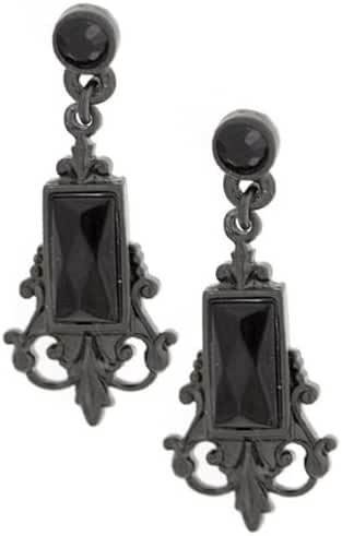 1928 Jewelry Bonne Nuit Vintage-Inspired Look Black Crystal Earrings
