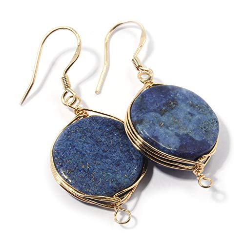 Scutum Craft 925 Sterling Silver Hook 14K Gold Plated 16mm Round Cut Natural Lapis Lazuli Stone Herringbone Wire Wrap Drop Earrings