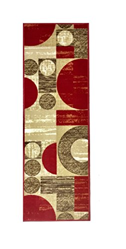 (Venice Collection, 20 Inch X 59 Inch, (Non- Skid/Slip), Contemporary Circular Rectangular Design, Kitchen/Bathroom/Hallway Area Rugs Runner (Red Beige Brown))