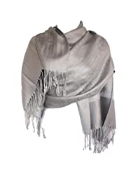 Silver Fever Jacquard Paisley Pashmina Shawl Scarf Stole By Silver Fever Brand (Silver/Gray)